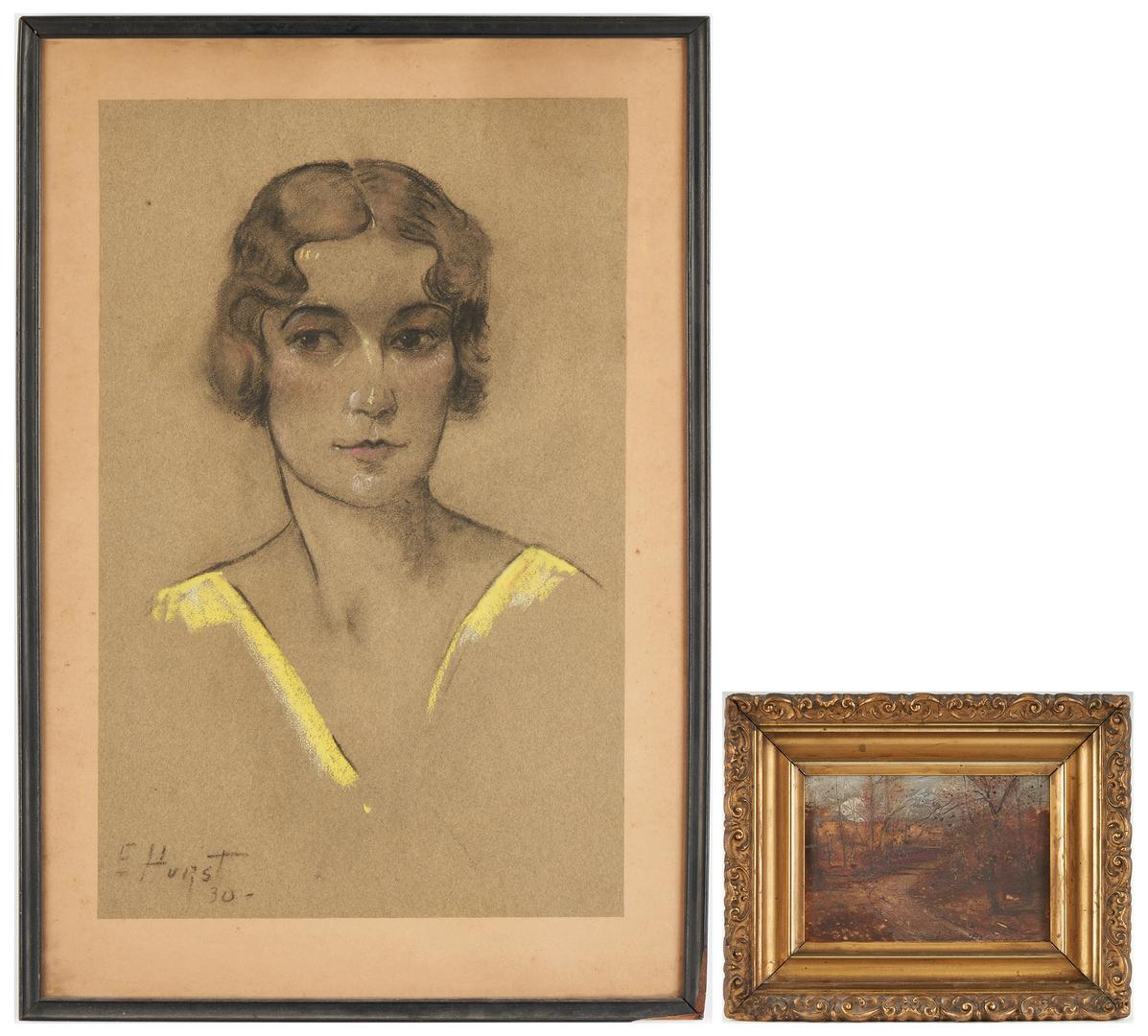 Lot 180: L. Branson Oil Landscape & E. Hurst Pastel Portrait