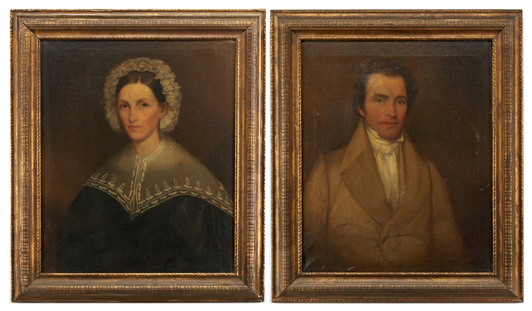 Lot 182: Pair of Early East TN O/C Portraits