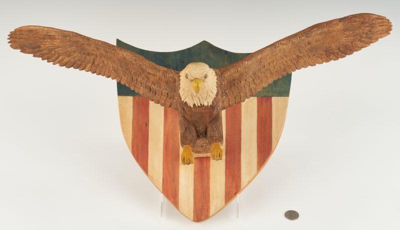 Lot 195: Roy Pace Folk Art Carved Eagle