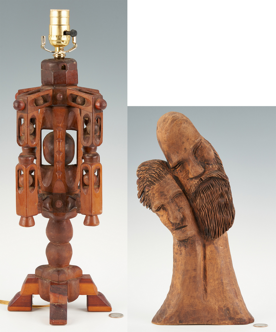 Lot 197: Clarence Stringfield Carving + Prison Art Lamp, 2 items