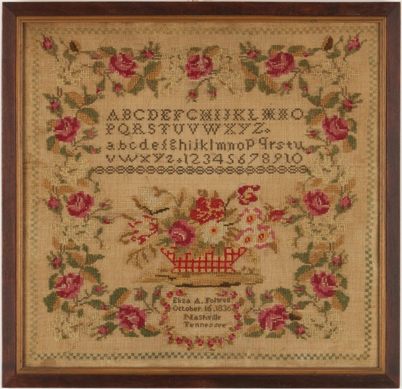 Lot 205: Nashville, Tennessee 1836 Sampler