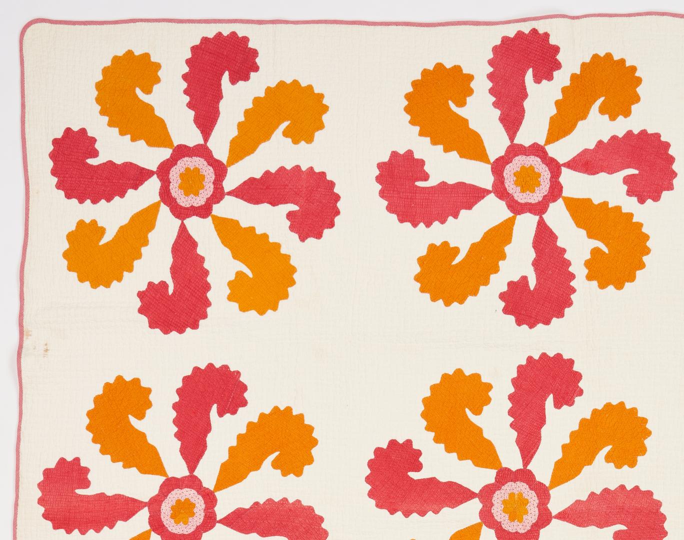 Lot 207: East TN Applique Princess Feather Quilt