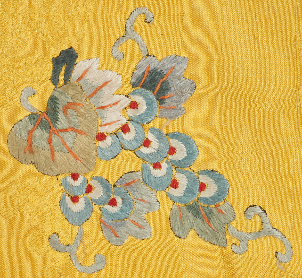 Lot 20: Chinese Qing Yellow Silk Embroidered Panel, signed