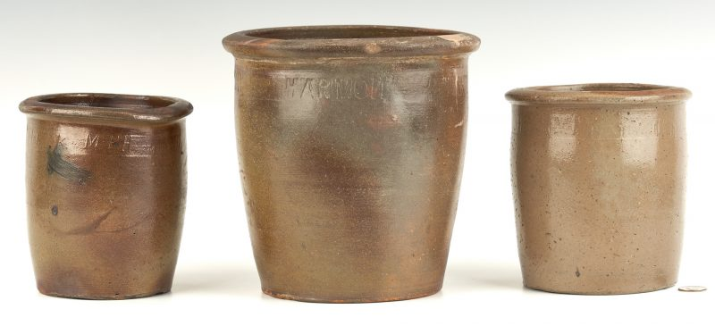 Lot 212: 3 Greene County, TN Pottery Jars by Harmon