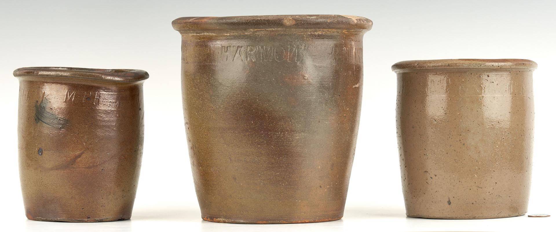 Lot 212: 3 Greene County, TN Pottery Jars by Harmon