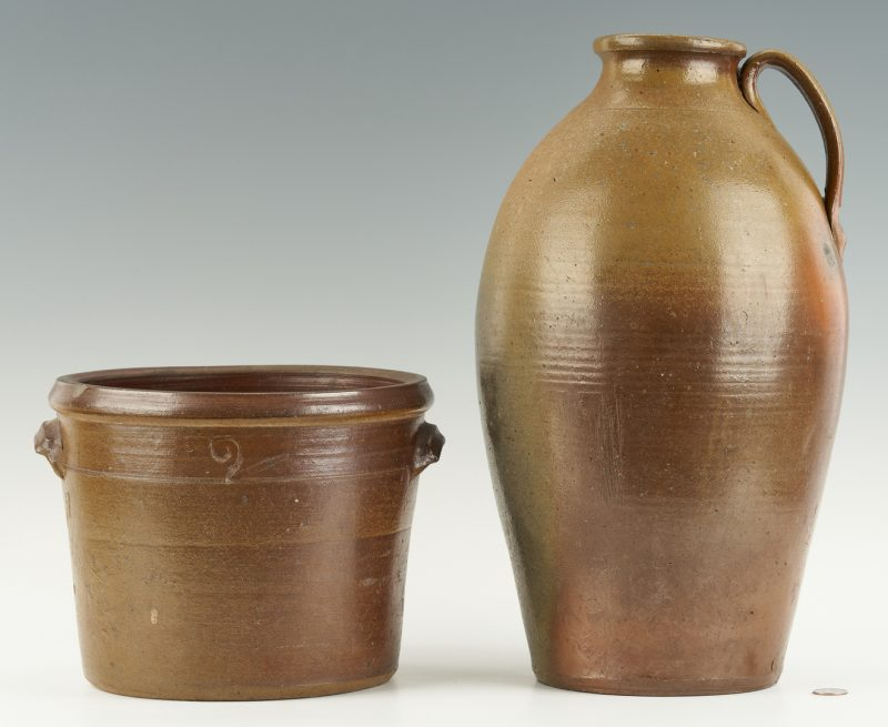 Lot 215: 2 Middle TN Stoneware Pottery Items