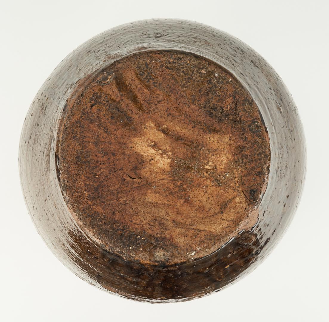 Lot 217: Southern Alkaline Glazed Jar, Stamped 55 and Crescent, Carolina