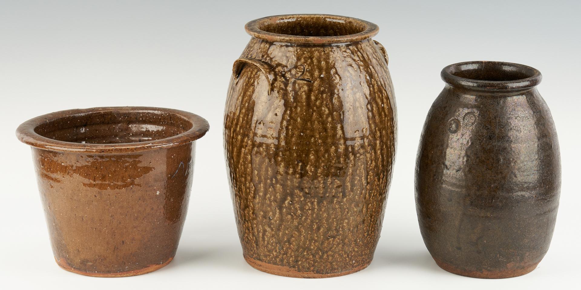 Lot 218: 3 Carolina Stoneware Pottery Items, incl. Landrum