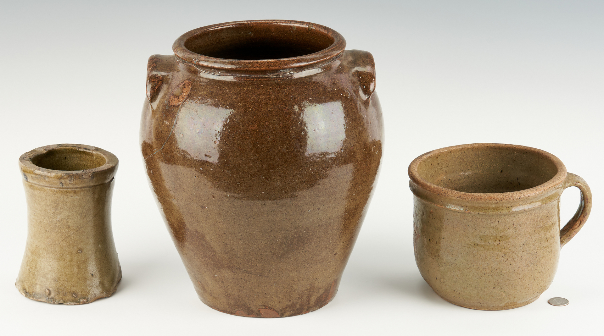 Lot 219: Edgefield Pottery Grouping Including Slave Made Jar