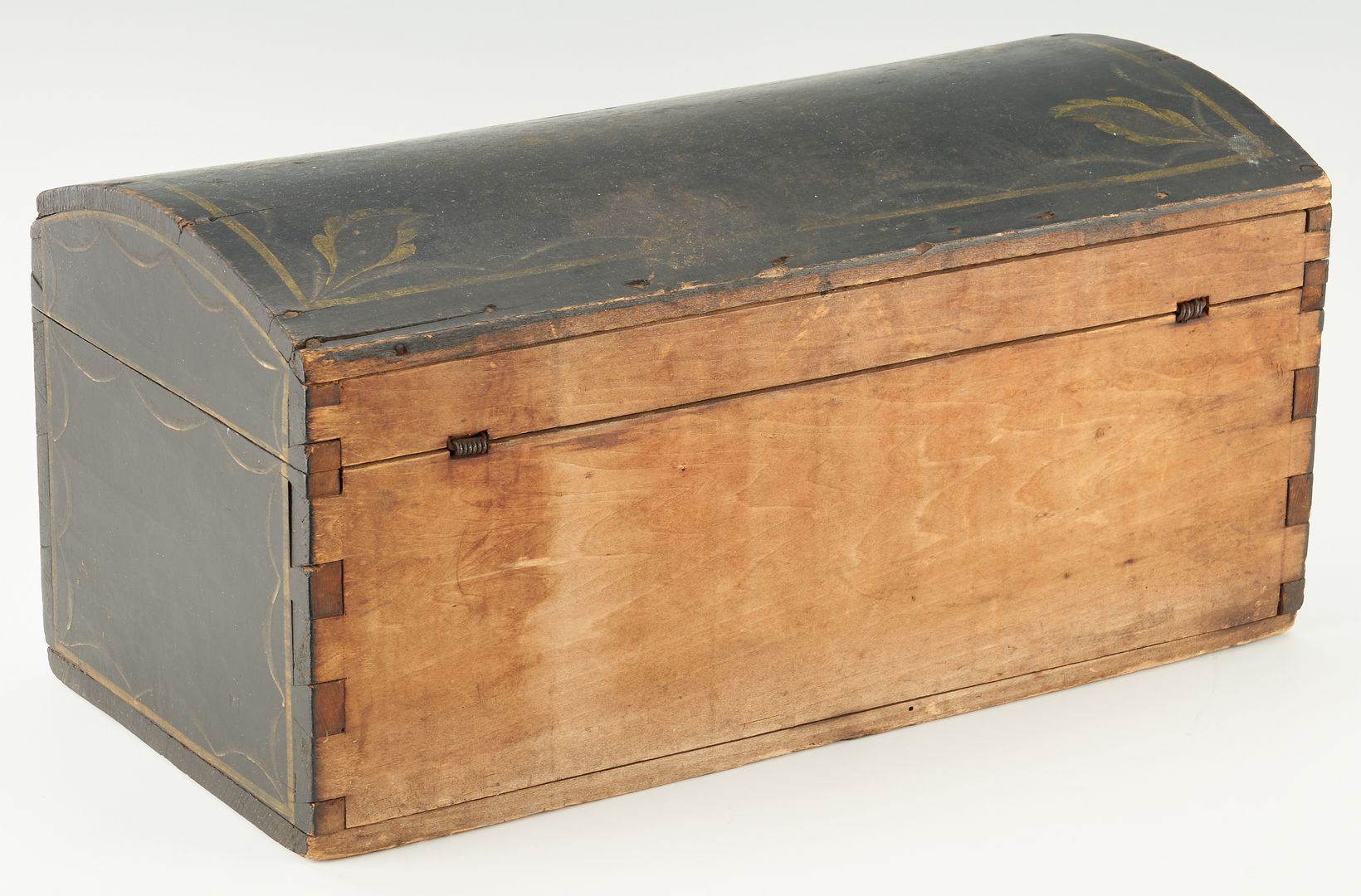 Lot 225: Dome Top Paint Decorated Box