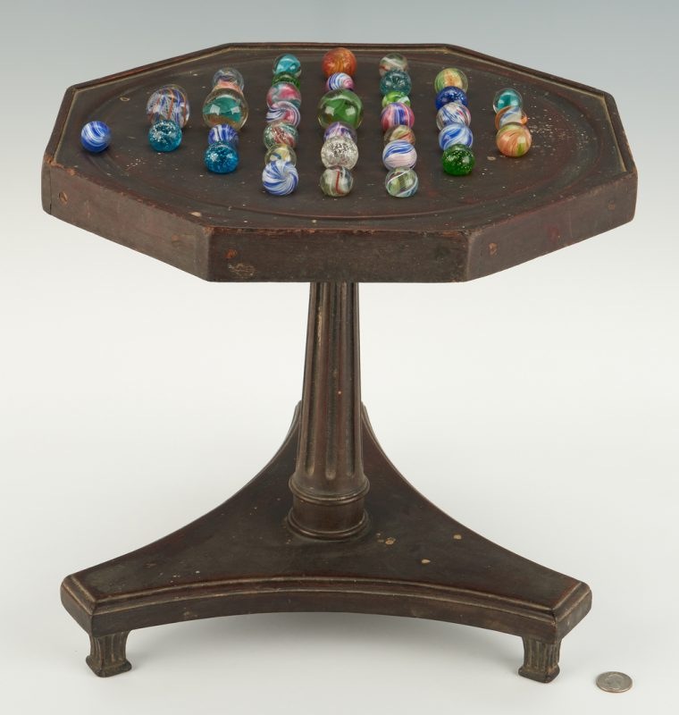 Lot 227: Solitaire Marble Game Table w/ Marbles