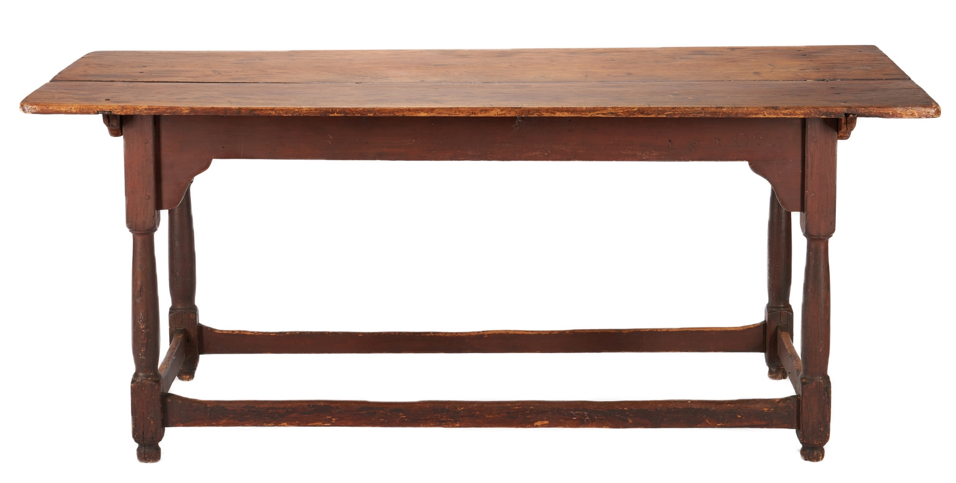 Lot 232: William and Mary Mid-Atlantic Stretcher Base Table