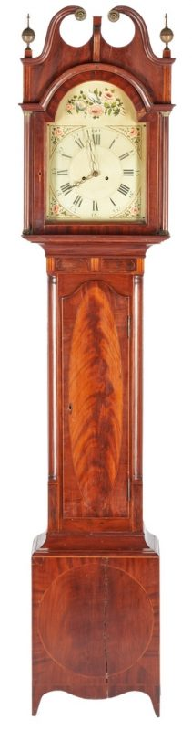 Lot 233: American Federal Inlaid Tall Case Clock, Poss. NJ