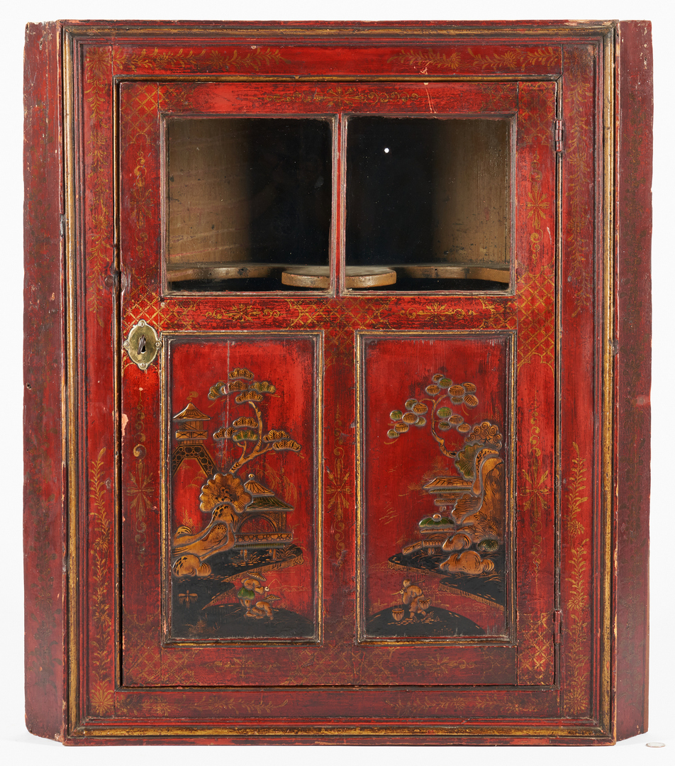Lot 235: Chinoiserie Red Lacquer Hanging Corner Cupboard
