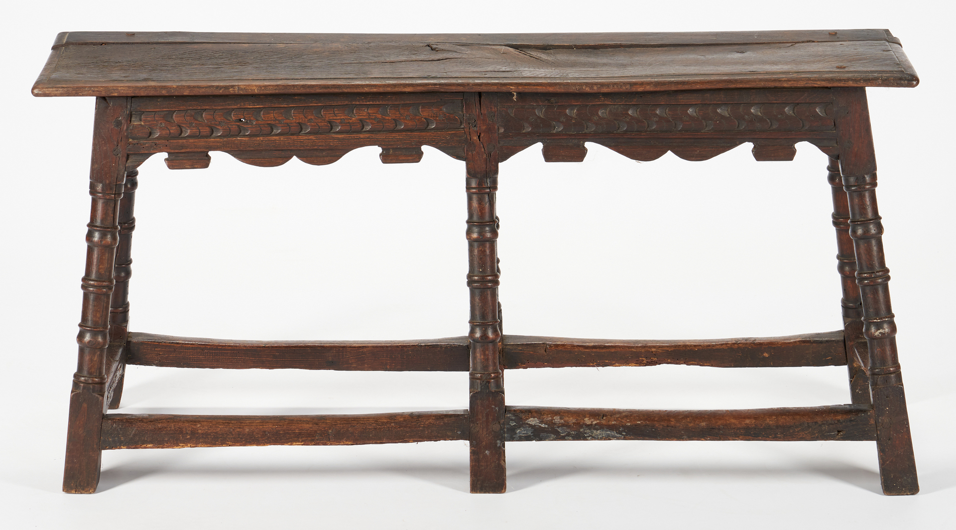 Lot 237: William & Mary English stretcher bench and table