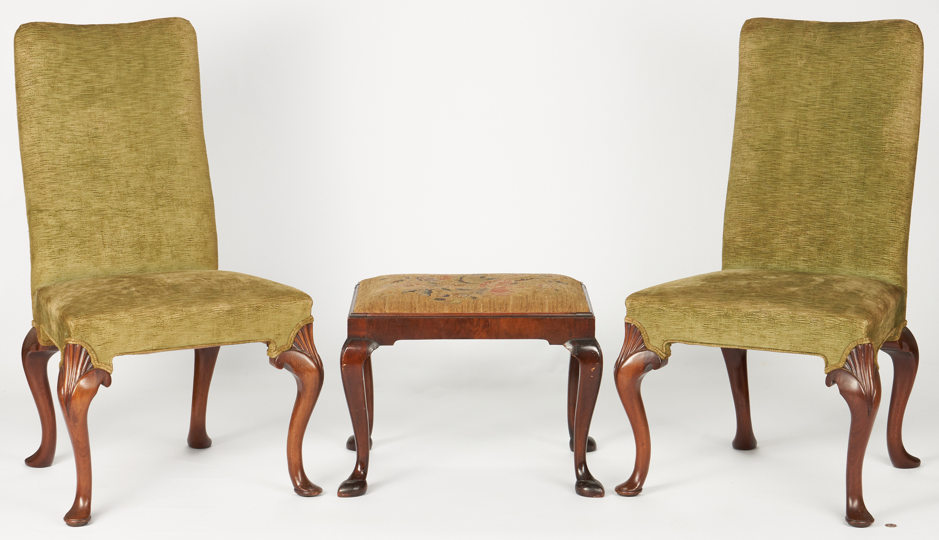 Lot 238: Pair of Irish Queen Anne chairs + footstool