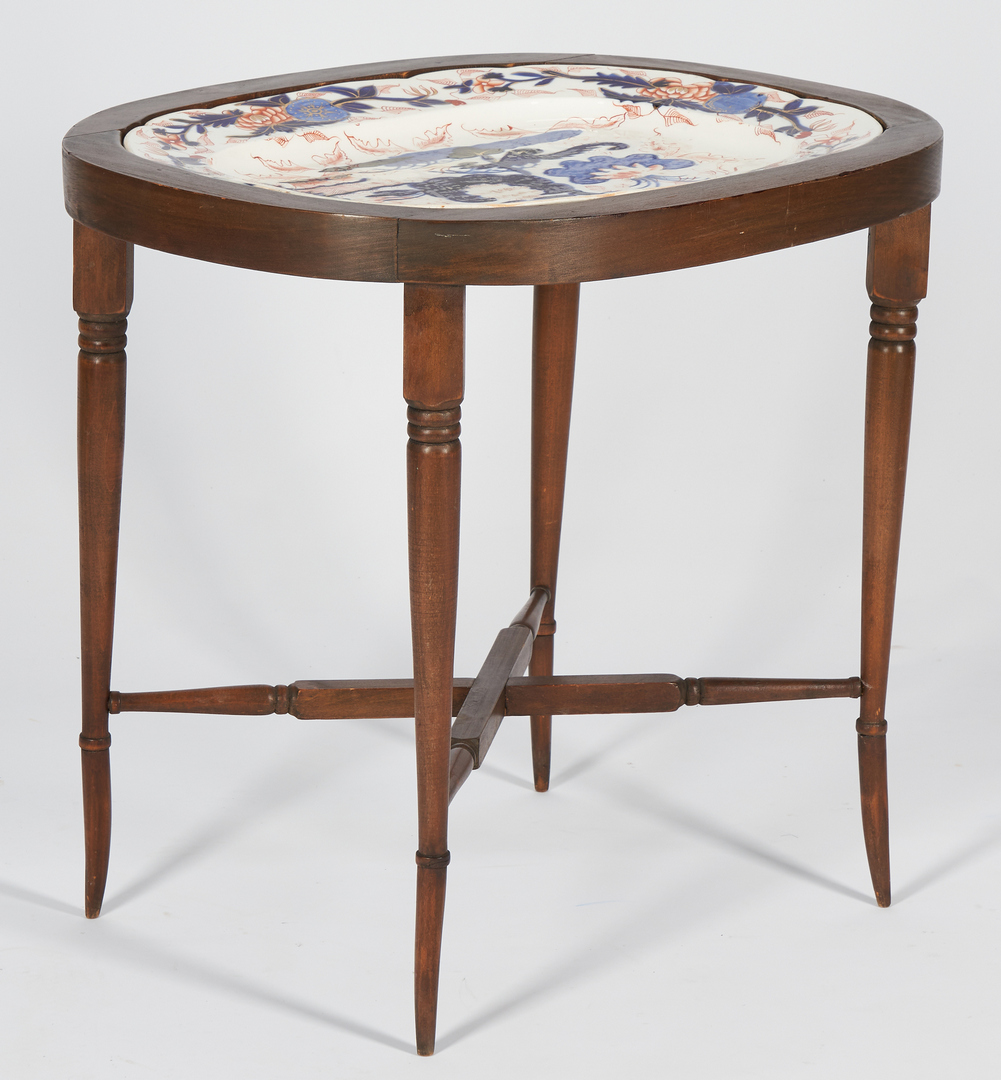 Lot 240: Labeled Writing Desk and Imari Platter Stand, 2 items