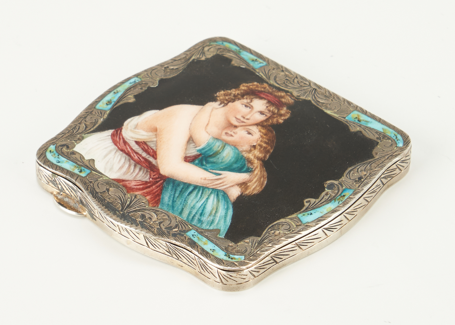 Lot 242: Burl Cigar Box, Silver Compact, and Frame