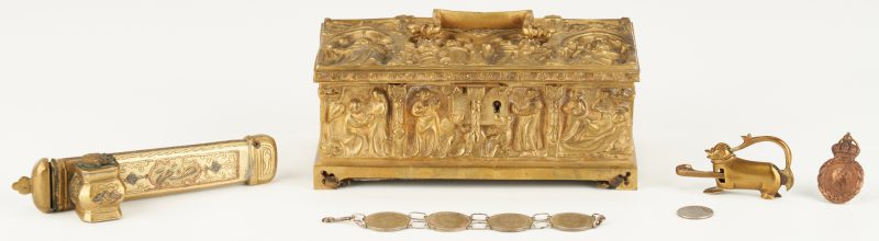 Lot 243: 5 Decorative Bronze and Brass Items, incl. Neo Gothic Box
