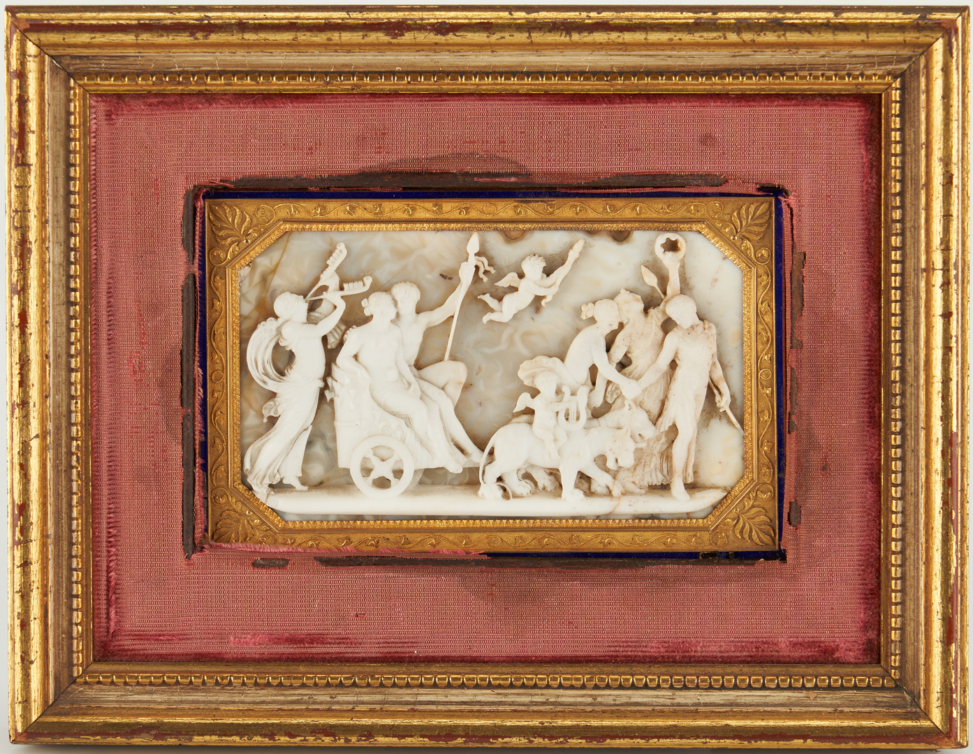 Lot 249: Miniature Chalcedony Classical Plaque, 18K Mounting