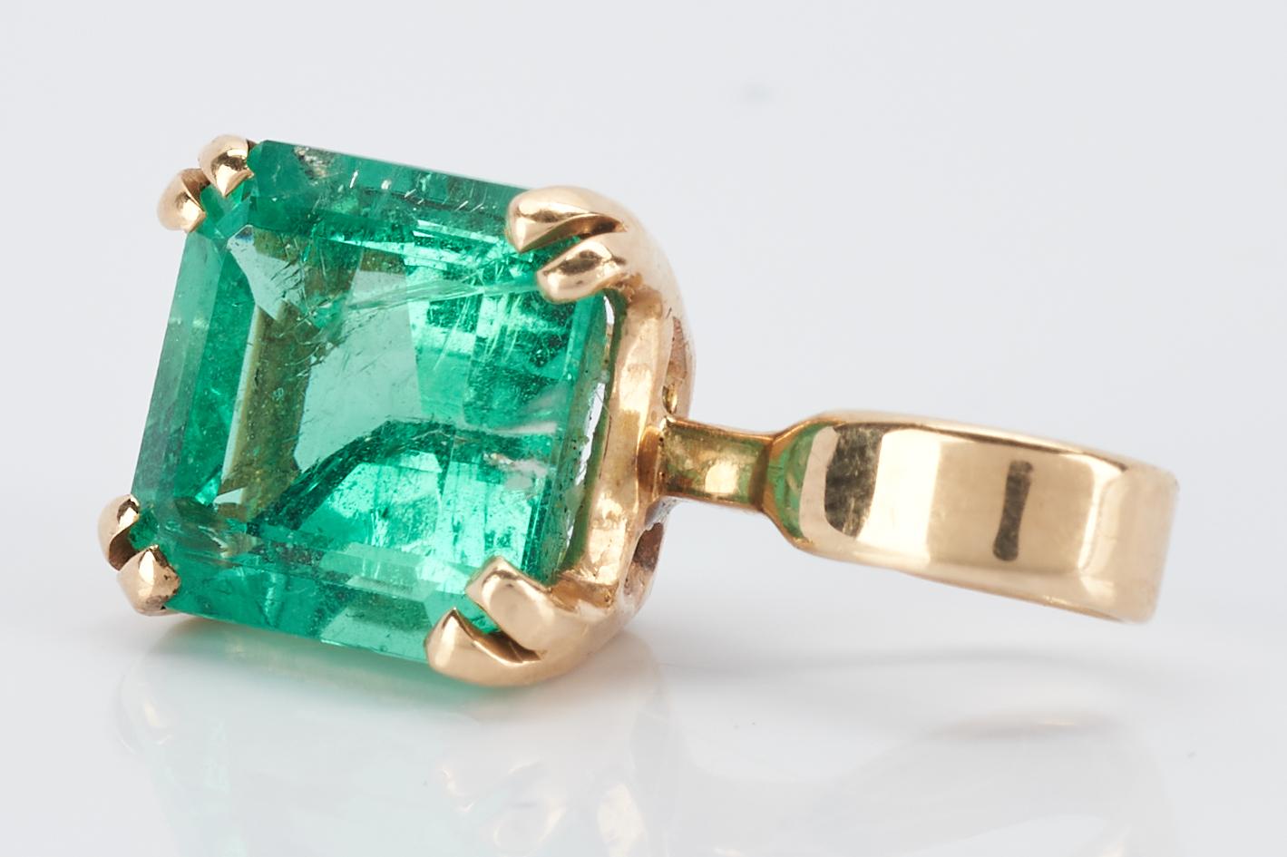 Lot 252: 14K Gold & Emerald Pendant