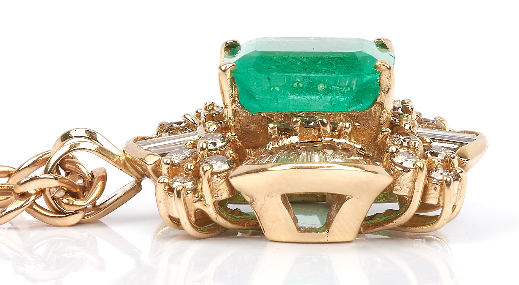 Lot 255: Ladies 11 Carat Emerald, Gold, & Diamond Pendant & Necklace