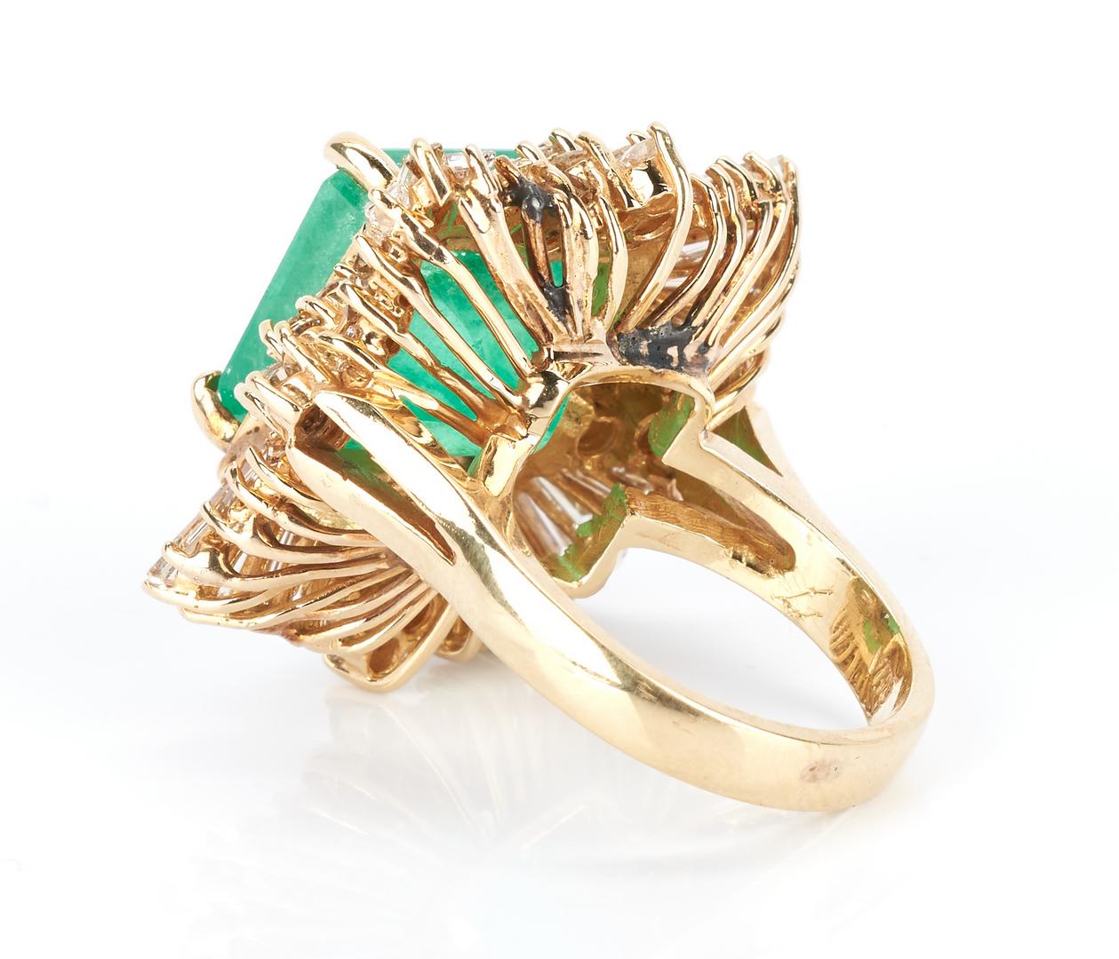 Lot 256: Ladies 14K Square Cut 13.8 Carat Emerald & Diamond Ring