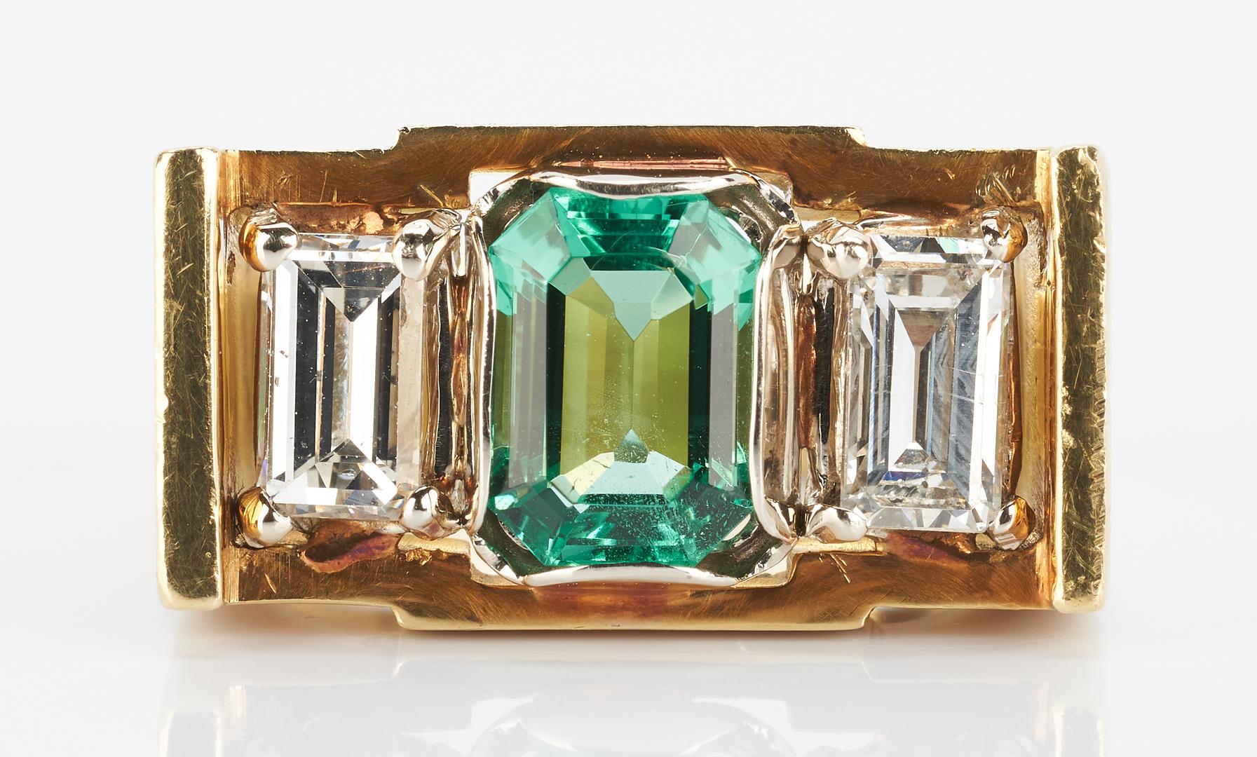 Lot 258: Men's 18K Emerald and Diamond Ring