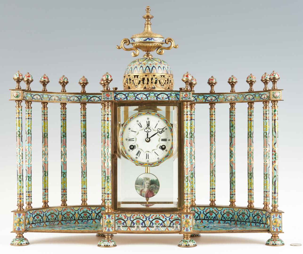 Lot 25: Cloisonne Colonnade Mantel Clock