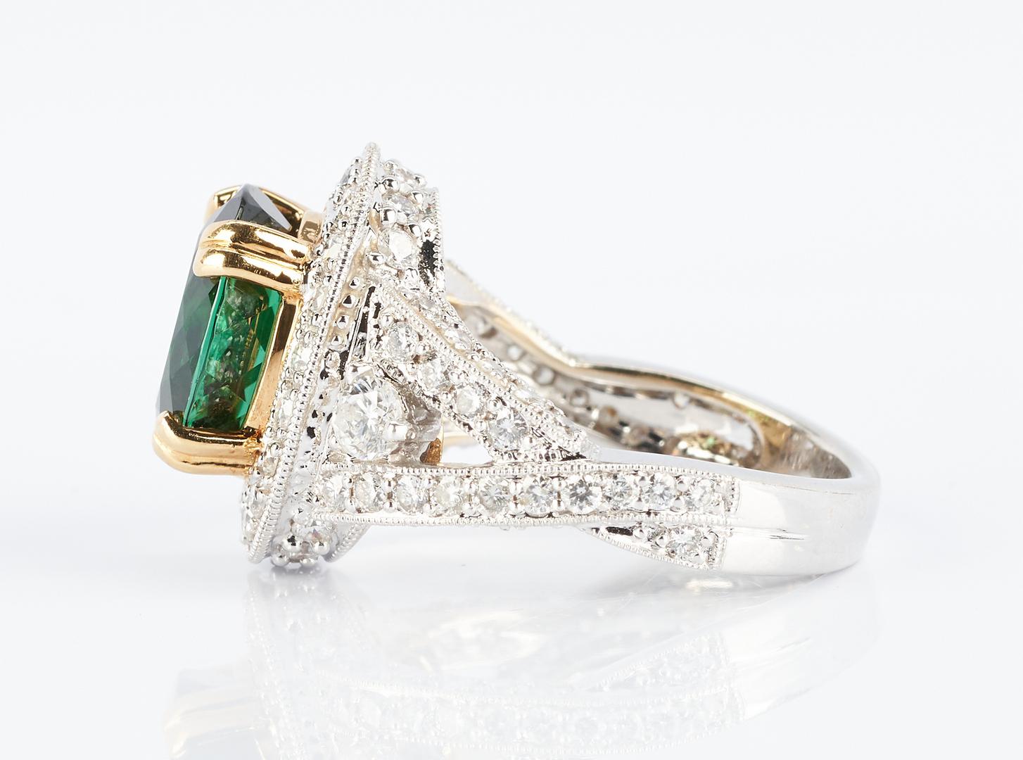 Lot 260: 18K Gold Tourmaline and Diamond Ring