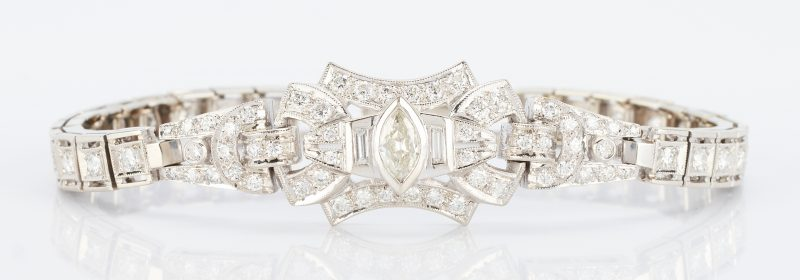 Lot 261: Ladies 14K & Diamond Art Deco Style Bracelet