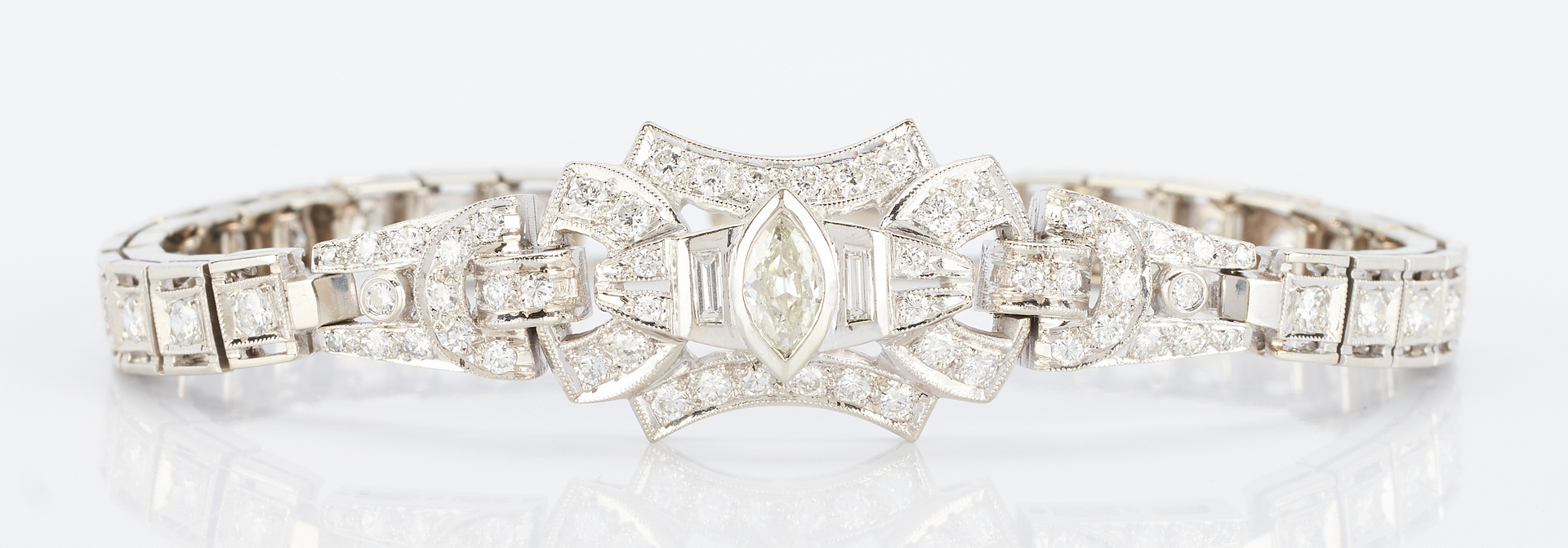 Lot 261: Ladies 14K & Diamond Art Deco Style Bracelet