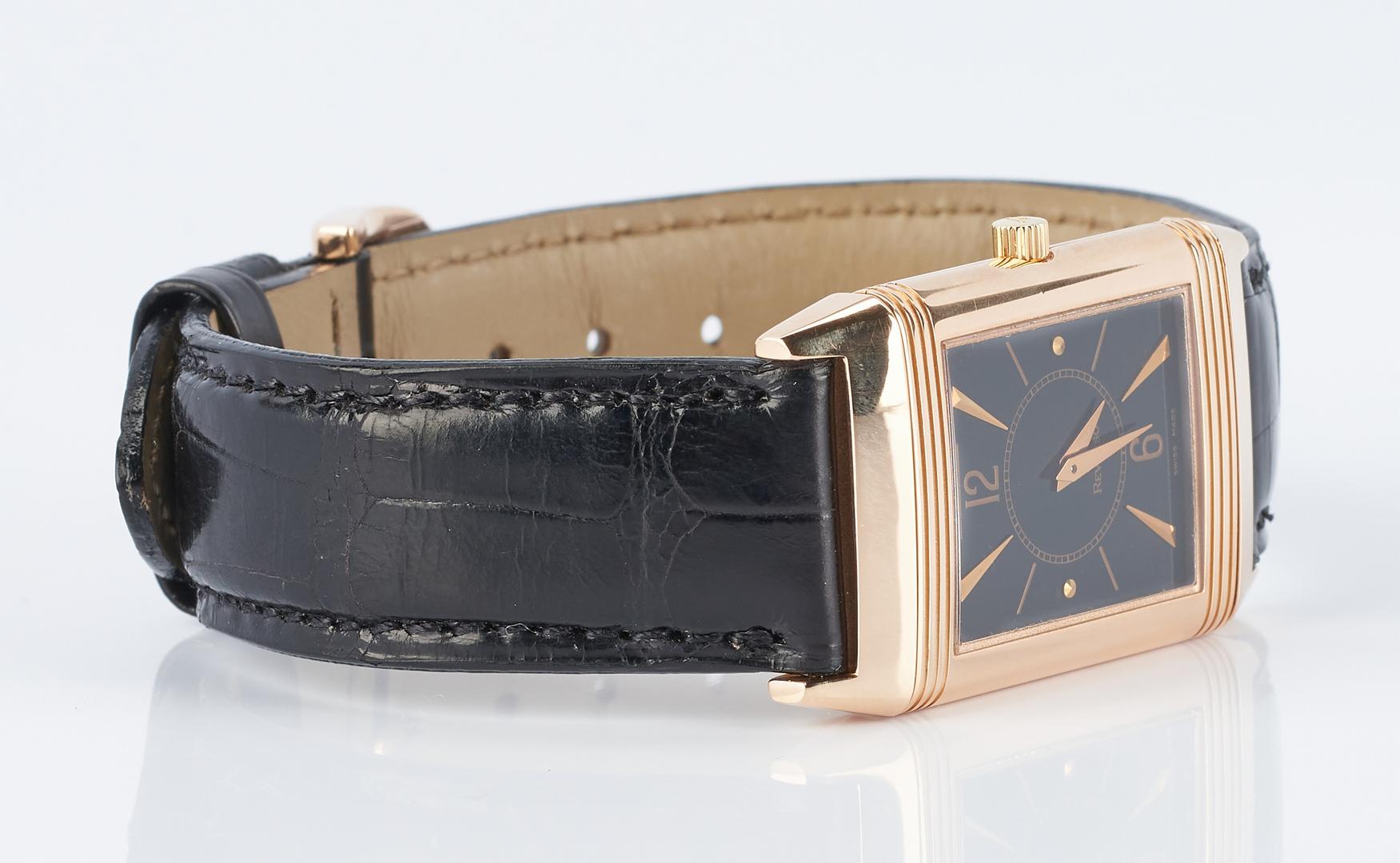 Lot 263: Jaeger LeCoultre 18K Rose Gold Reverso Wrist Watch