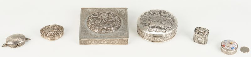 Lot 26: 6 Small Boxes, most Persian Silver