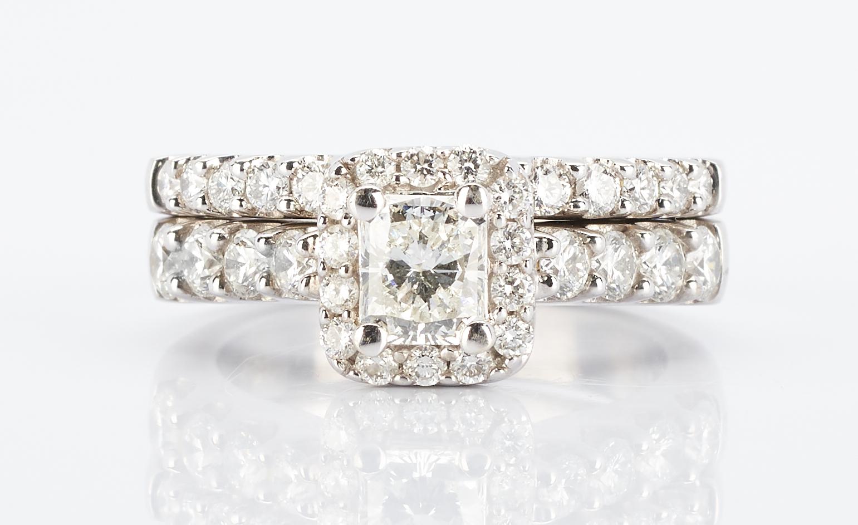 Lot 271: 14K Gold & Diamond Bridal Ring Set