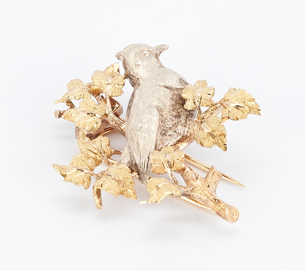 Lot 273: 18K Mid-Century Buccellati Brooch, Bird on Branch