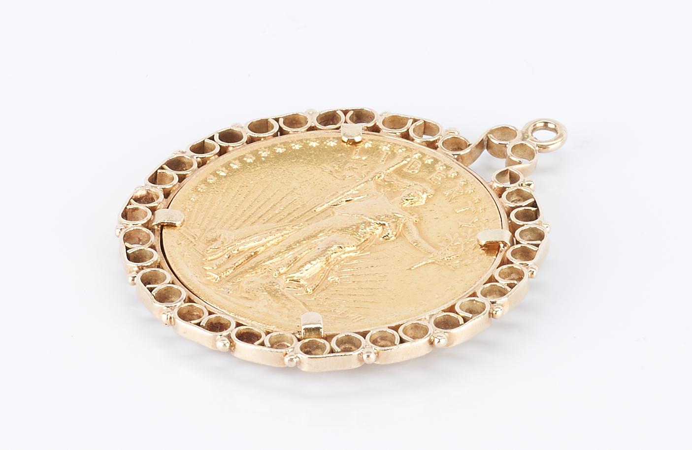Lot 274: 1907 $20 Gold Coin w/ 14K Bezel