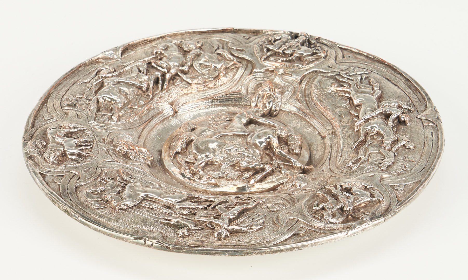 Lot 276: Continental Silver Salt Neff and Horse Motif plate