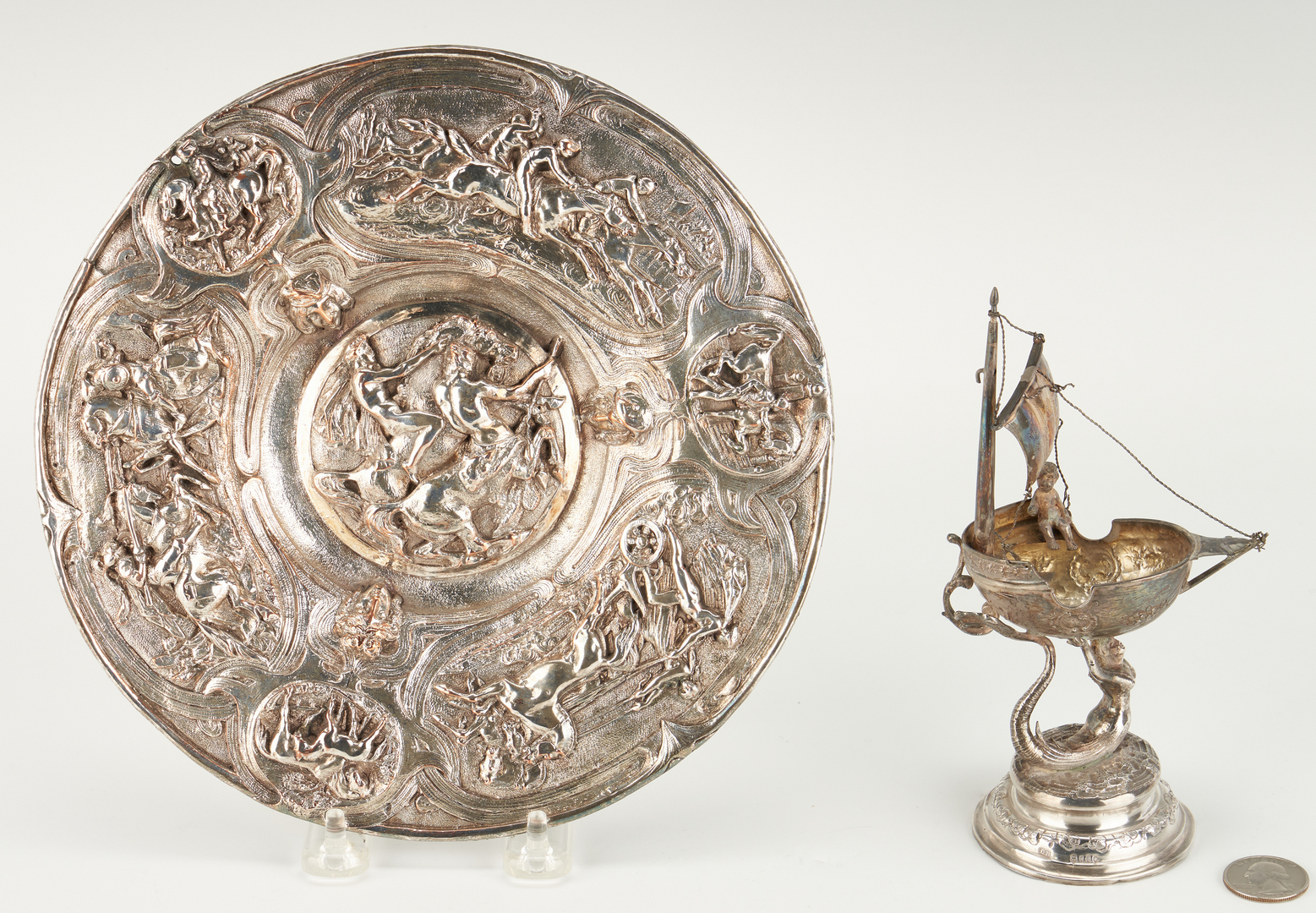 Lot 276: Continental Silver Salt Nef and Horse Motif plate