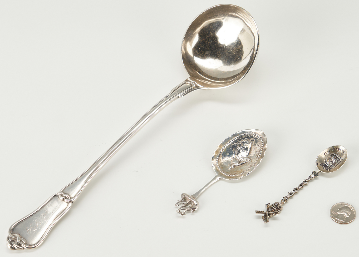 Lot 281: French 1st Standard Silver Lover's Knot Ladle plus 2 Continental Spoons