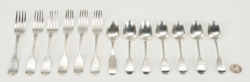 Lot 283: 12 Pcs. English Sterling & Coin Silver Teaspoon, 13 items