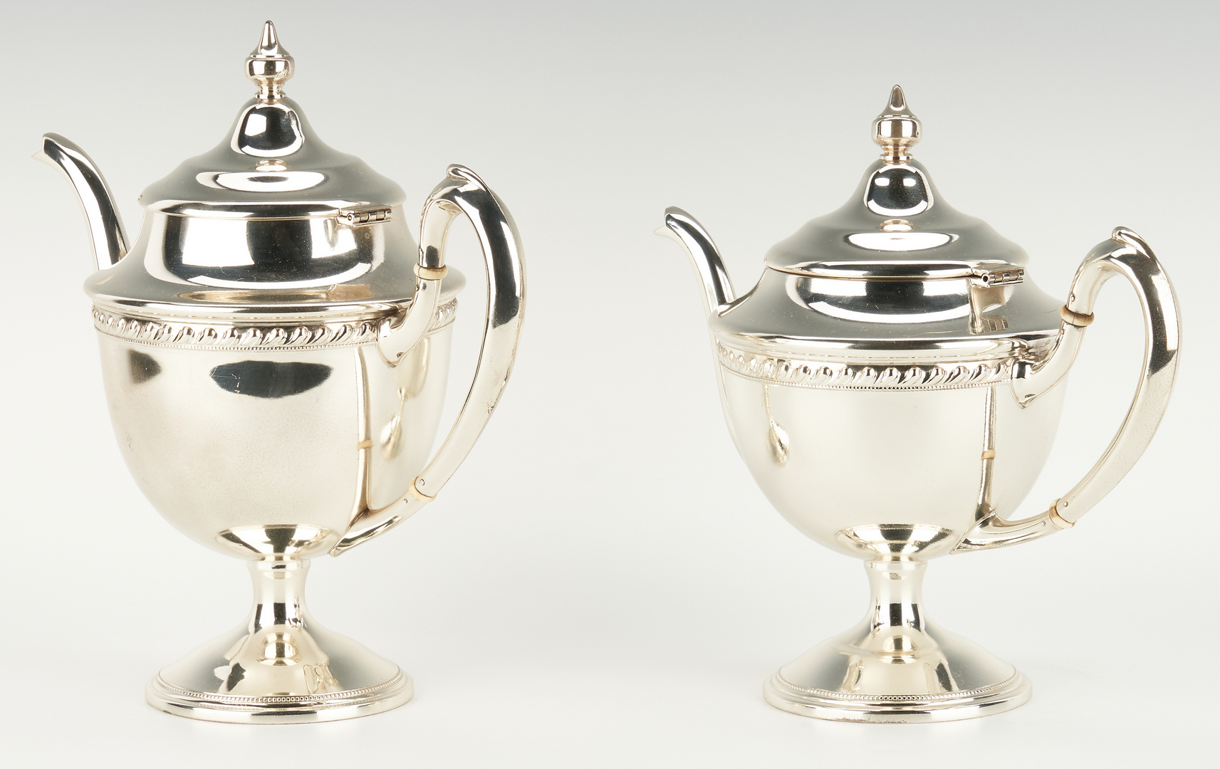 Lot 287: 5 pc. Reed & Barton Sterling Tea Set w/ SP Kettle and Tray
