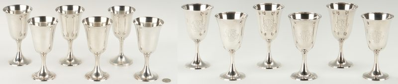 Lot 288: 12 Sterling Silver Water Goblets, incl. Gorham, Whiting