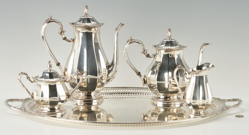 Lot 290: International Sterling Tea Set & Oval Tray, 5 Pcs.