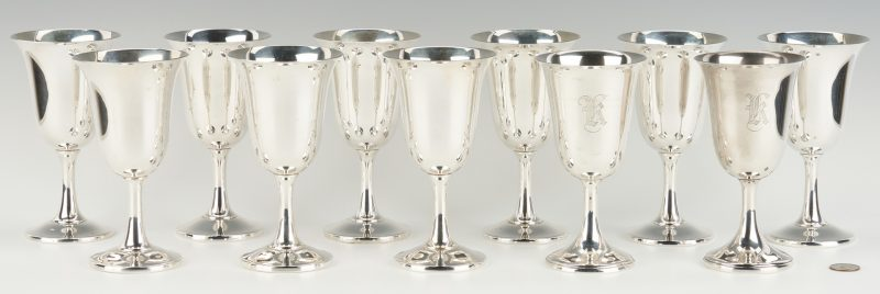 Lot 291: 11 Sterling Water Goblets, incl. Wallace & Watrous