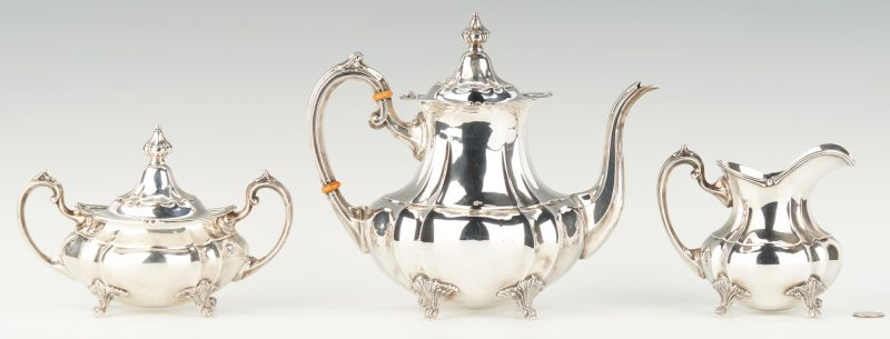 Lot 294: Fisher 3-Piece Sterling Silver Tea Set