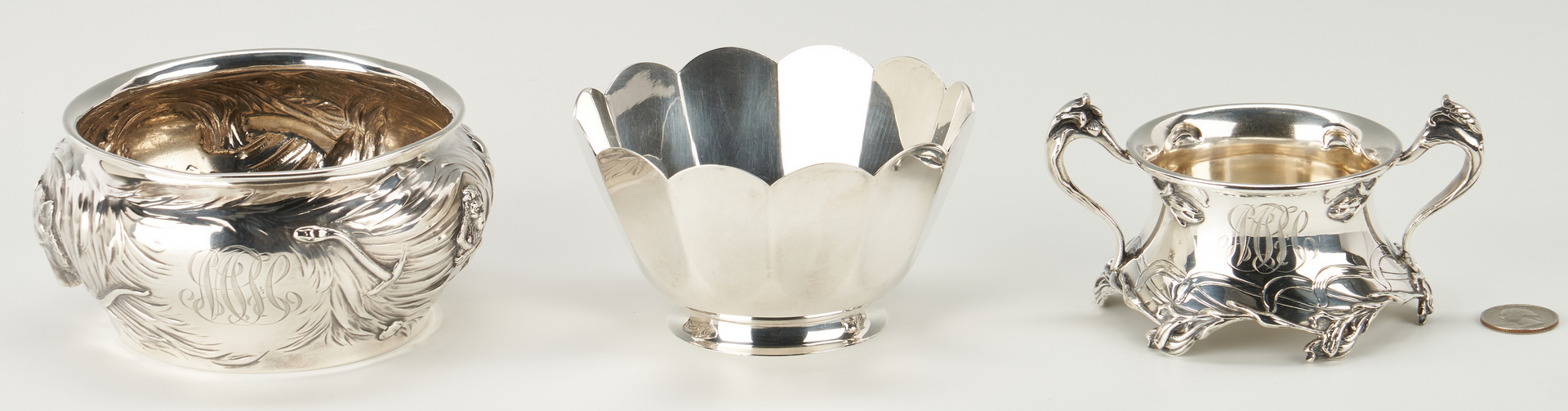 Lot 298: 3 Sterling Bowls, incl. Tiffany, Animals