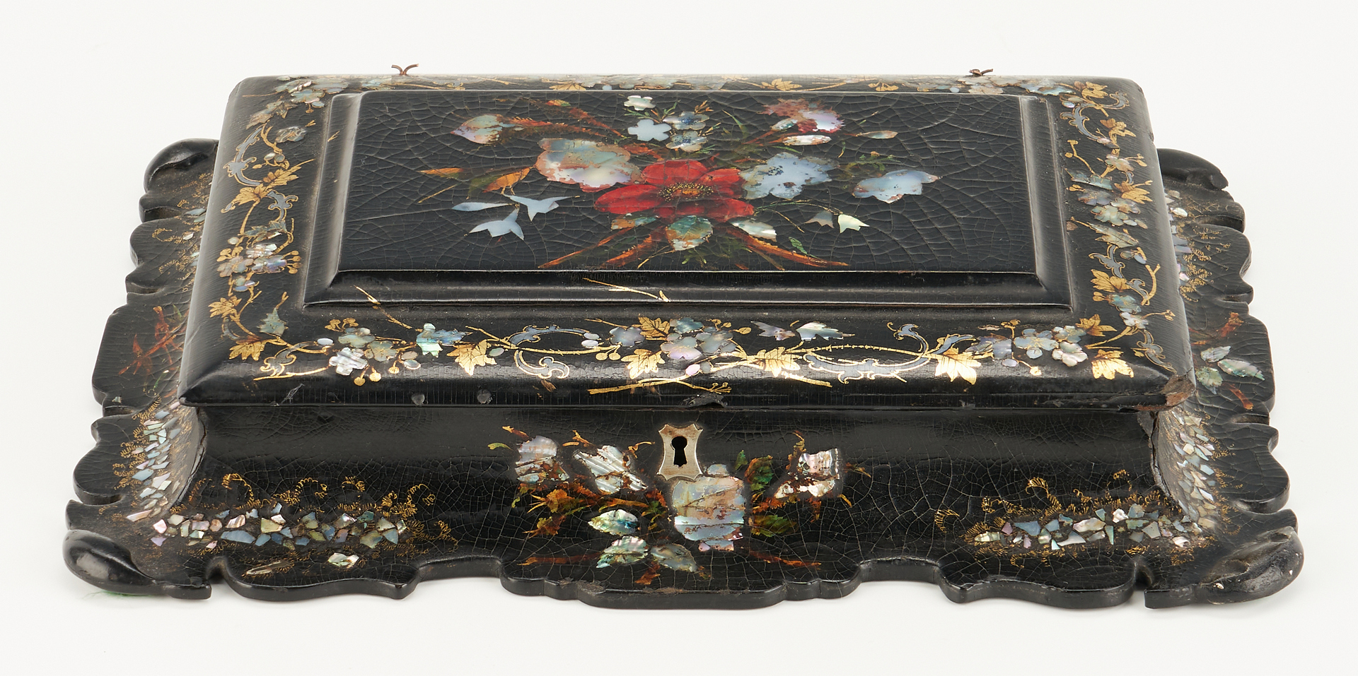Lot 300: Hand Painted European Fan & Paper Mache Box