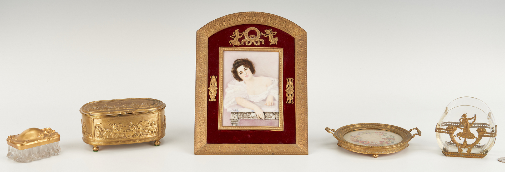 Lot 301: 5 Gilt Bronze and Silver Ladies Table or Vanity Items