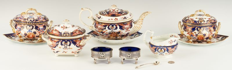 Lot 308: 2 Sterling Salt Cellars & 8 Royal Crown Derby Pcs.